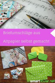 Briefe, Glückwunschkarten und Geschenke werden schöner mit selbst gebastelten Umschlägen! So stellst du Umschläge aus Zeitungen, Karten und vielem mehr her!