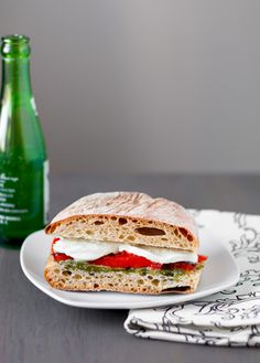 Roasted Red Pepper and Mozzarella Sandwiches with Arugula Pesto