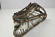 Scrap metal alligator head sculpture by ContrivedCuriosities, $400.00