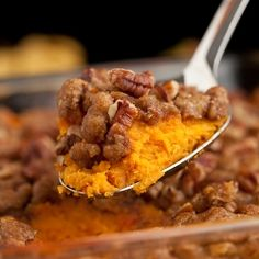 Sweet Potato Casserole with Brown Sugar Maple Crumble - the BEST holiday side dish that tastes like dessert