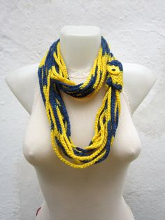 Crochet Scarf infinity   Red yellow Necklace Colorful  by nurlu, $19.00