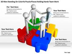 3d men standing on colorful puzzle pieces holding hands team work ppt graphics icons Slide01
