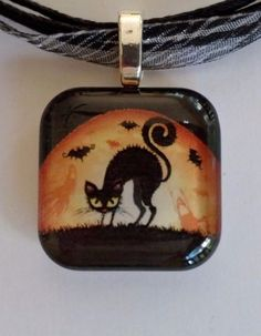 HALLOWEEN BLACK CAT. 1 Inch Glass Tile, Silver Plated, Pendant Necklace