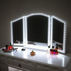 Pangton Villa LED Vanity Mirror Lights Kit for Makeup Dressing Table Vanity Set Flexible LED Light Strip Daylight White with Dimmer and Power Supply DIY Mirror Mirror not Included Makeup Vanity Lighting, Makeup Vanity Mirror With Lights, Led Vanity Lights, Lighted Vanity Mirror, Mirror Mirror, Mirrored Vanity, Makeup Light, Bathroom Lighting, Vanity Set