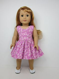 American Girl doll clothes - Pretty pink and  white flowered lisianthus dress by JazzyDollDuds.