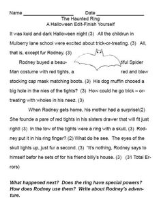 Halloween Edits and Story Starters: The Haunted Ring -- A Printable Edit and Story Starter for Halloween