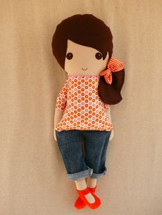 Fabric Doll Rag Doll Brown Haired Girl in Modern by rovingovine, $36.00