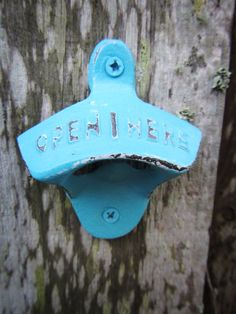 Turquoise Blue Rustic Wall Mounted Bottle Opener / Hand Painted by ShabbyAnchor on Etsy, #rusticdecor