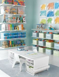 Storage solutions to make kids playroom look super neat
