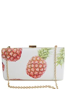 Pineapple Print Metal Color Block Evening Bag
