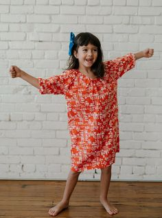 For sleep and play, night and day! These cotton nightdresses are ethically produced and go through an extensive three-wash process making them cozy enough for sleep and pretty enough to be worn all day. The pleated neckline allows them to slip on with ease! The best kid's pajamas!