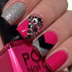 Beautiful silver  pink jeweled nails #nail #nails #nailart