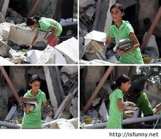 Palestinian girl looking for her books under the ruins of her house isfunny.net
