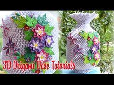 HOW TO MAKE 3D ORIGAMI VASE V3 PART 1 | DIY PAPER FLOWER VASE V3 HANDMADE DECORATION PART 1 - YouTube