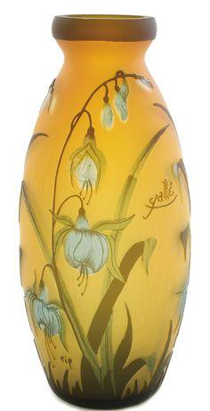 Galle Glass; Cameo, Vase, Fuchsia Flower & Leaf, Golden Ground, 12 inch. Circa 1890-1925.