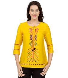 Buy Yellow embroidered Earth tunics tunic online