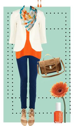 """Orange & blue"" by alysia123 on Polyvore"