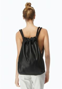 The Stowe Leather Drawstring Backpack