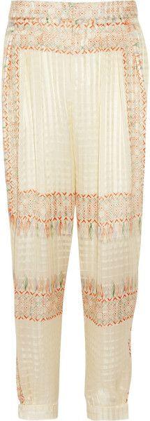 Giane Capato: Chloé Printed Silk foulard Tapered Pants in Beige (Cream) -