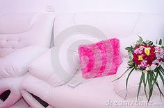 Two White Sofa Pink Pillow And Wedding Bouquet - Download From Over 36 Million High Quality Stock Photos, Images, Vectors. Sign up for FREE today. Image: 59317147