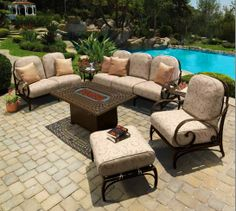 Designer Patio Furniture Fireplace Patio Design serving Western Springs Everything for the Outdoor Living and more. At Fireplace Patio Design we. Cast Aluminum Patio Furniture, Outdoor Furniture Sets, Trees And Trends, Outdoor Seating, Outdoor Decor, Outdoor Ideas, The Life, Patio Design, Outdoor Living