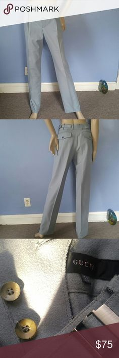 """Gucci Light Blue Wool Pants Gucci Light Blue Wool Pants. Beautiful Gucci Wool Pants. Gucci Stamped Buttons and Stamped Silver Tone Hardware. Front has 6 Gucci Button Closure. 2 Side Pockets...2 Back Pockets...Side Adjustable Waist Straps. Soft Lana Wool No Lining. Labeled Size 38 These Are Exact Measurements : Waist: 28"""" Front Rise: 9.5"""" Back Rise: 15"""" Inseam: 33"""" Outer Seam: 42"""" Fashionable Raw Edge Seams Lovely Pair of Pants. Gucci Pants"""