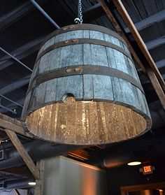 whiskey barrel chandeliers compliments of Nashville Event Lighting!