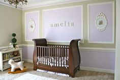"Lavender/pale green nursery: ""crib - RH baby & child; rocking chair - Babies R Us; hanging picture frames - RH baby & child, prints are from a free online Peter Rabbit book; lamp - Home Goods; chandelier - RH baby & child;   peg shelf - Pottery Barn Kids; rug - T.J. Maxx; bedding & curtains - RH baby & child; rocking lamb - Pottery Barn Kids."""