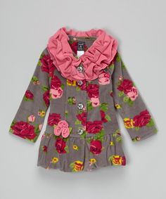Adorable find on #zulily! Gray Rose Ruffle-Collar Bubble Coat - Infant, Toddler & Girls by Mack & Co #zulilyfinds #ministyle