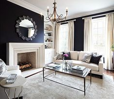 Living Room with Black Walls - Contemporary - living room - Laura Hay Decor Design Navy Living Rooms, Black And White Living Room, Design Living Room, White Rooms, Living Room Grey, Home Living Room, Living Room Decor, Black White, Navy Blue Rooms