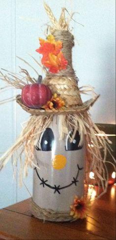 Scarecrow wine bottle decoration by NanasCraftyKorner on Etsy