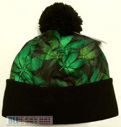 MARIJUANA KUSH POT HEMP LEAF WEED WINTER WARM SKI KNIT BEANIE POM WATCH CAP HAT #PremiumBeanie #Beanie