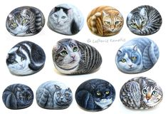 Hand Painted Stones Cats by Lefteris Kanetis ! Find more at https://gr.pinterest.com/LefterisKanetis/
