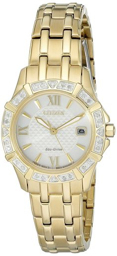 Citizen Eco-Drive Women's 'Diamond' Quartz Stainless Steel Casual Watch, Color: Gold-Toned (Model: EW2362-55A) -- You can get additional details at the…