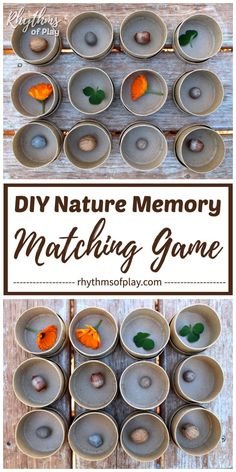 An educational matching game and sensory activity for kids preschool age and up. Playing matching games like this easy memory game with natural materials can help both children and adults develop focus, memory, and r Creative Activities For Kids, Nature Activities, Kids Learning Activities, Spring Activities, Sensory Activities, Outdoor Activities, Preschool Age, Preschool Crafts, Kid Crafts