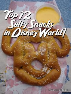 "Best Salty Snacks in Disney World!! (When ""sweet"" won't do)!  Soft pretzels are one of my favorite foods- the only thing that can make them better are ones shaped line Mickey!!!"
