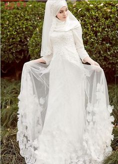 Added layers on skirt Muslim Wedding Gown, Muslimah Wedding Dress, Asian Wedding Dress, Muslim Wedding Dresses, Muslim Brides, White Wedding Dresses, Designer Wedding Dresses, Wedding Gowns, Bridal Hijab