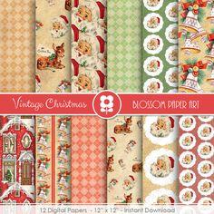 Christmas Digital Paper, Vintage Christmas Digital Paper Pack, Christmas Scrapbooking INSTANT DOWNLOAD  Use for Scrapbooking, Cardmaking,