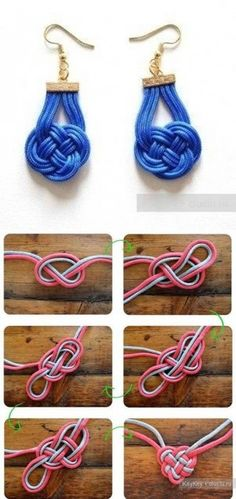 how to knit beautiful chinese decorative knotting earrings step by step DIY tutorial instructions