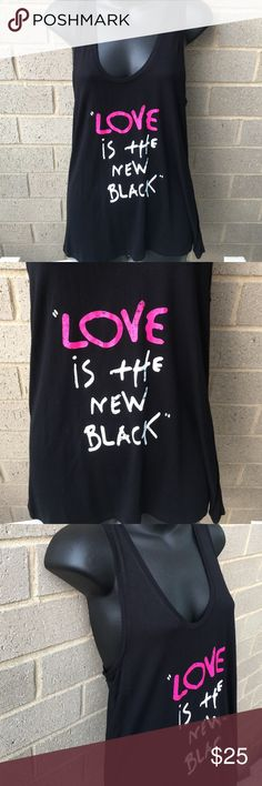 """Betsey Johnson racer back tank top Brand new tank top with tags . Reads """"love is the new black """". Fabric is 95% rayon , 5% spandex. ❗️price firm ❗️ Betsey Johnson Tops Tank Tops"""