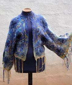 handmade felted gossamer jacket/cape bat sleeve hand dyed merino tops, mohair,merino yarn, silk yarn and lurex