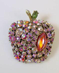 Vintage ART Pink Aurora Borealis Apple Brooch