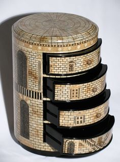 Small Fornasetti style lacquered architectural cabinet poss. by Hugh Acton, c. 1980