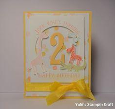 スタンピンアップ  ナンバー・オブ・イヤーズとズー・ベイビーズ・スタンプセットでバースデーカードを作りました! Birthday Card using Number Of Years stamp set, Zoo Babies stamp set, Framelits Circle Collection and Large Number die, Stampin' Up!