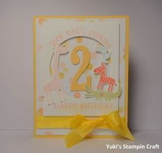 Birthday Card using Number Of Years stamp set, Zoo Babies stamp set, Framelits Circle Collection and Large Number die, Stampin' Up!