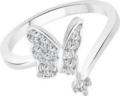 Vighnaharta Alloy Cubic Zirconia 18K White Gold Ring