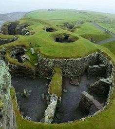 Built over 1200 years ago, an early Viking settlement located on the isle of Jarlshof, Scotland. It was discovered only 100 years ago when a storm exposed some structural remains.