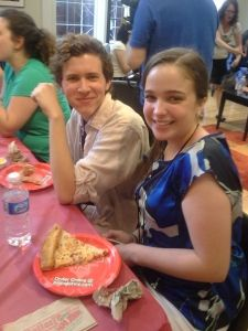 Emily Emmett and Michael Williams, winners of Best Actress and Actor for the 2012 DSM High School Musical Theatre Awards, take a dinner break before rehearsal on day 1!