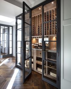 Built in Wine Room with Crittall style doors Glass Wine Cellar, Home Wine Cellars, Wine Cellar Design, Wine Cellar Modern, Home Wine Bar, Luxury Kitchens, Home Kitchens, Design Vitrail, Under Stairs Wine Cellar