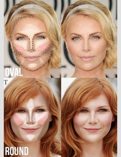 Contour / highlight placement for oval vs round face shapes.